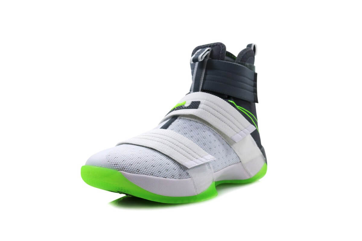 huge discount 66a40 51728 Nike Lebron Soldier X (Dunkman) White Cool Grey-Electric Green