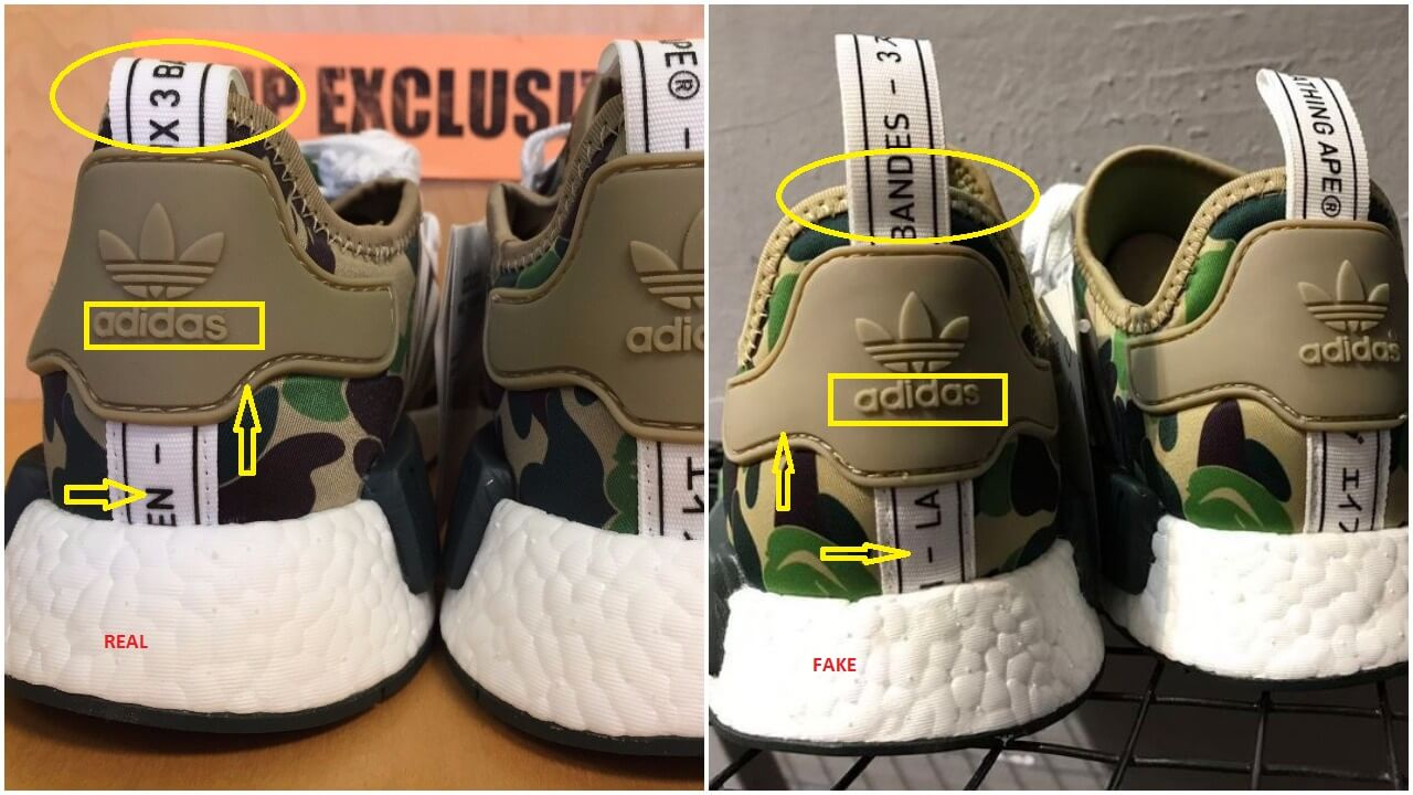 e7afb766217 Real Vs Fake Bape Adidas NMD R1 BA7326 Green Camo – ARCH-USA