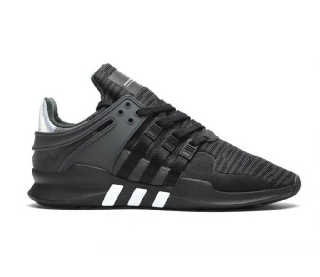 adidas black & white eqt support adv trainers