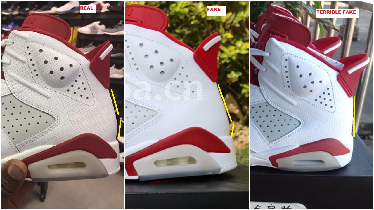 5b407dfcf181 Fake Air Jordan 6 Alternate Spotted-Quick Tips To Identify Them ...