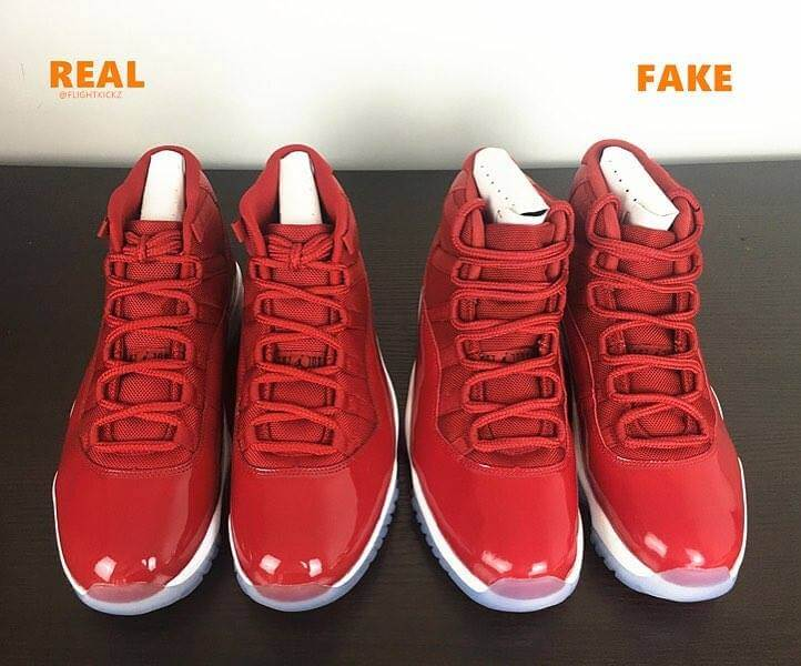 official photos df331 5db6b Air Jordan 11 Gym Red & Midnight Navy Which Is Real Or Fake ...