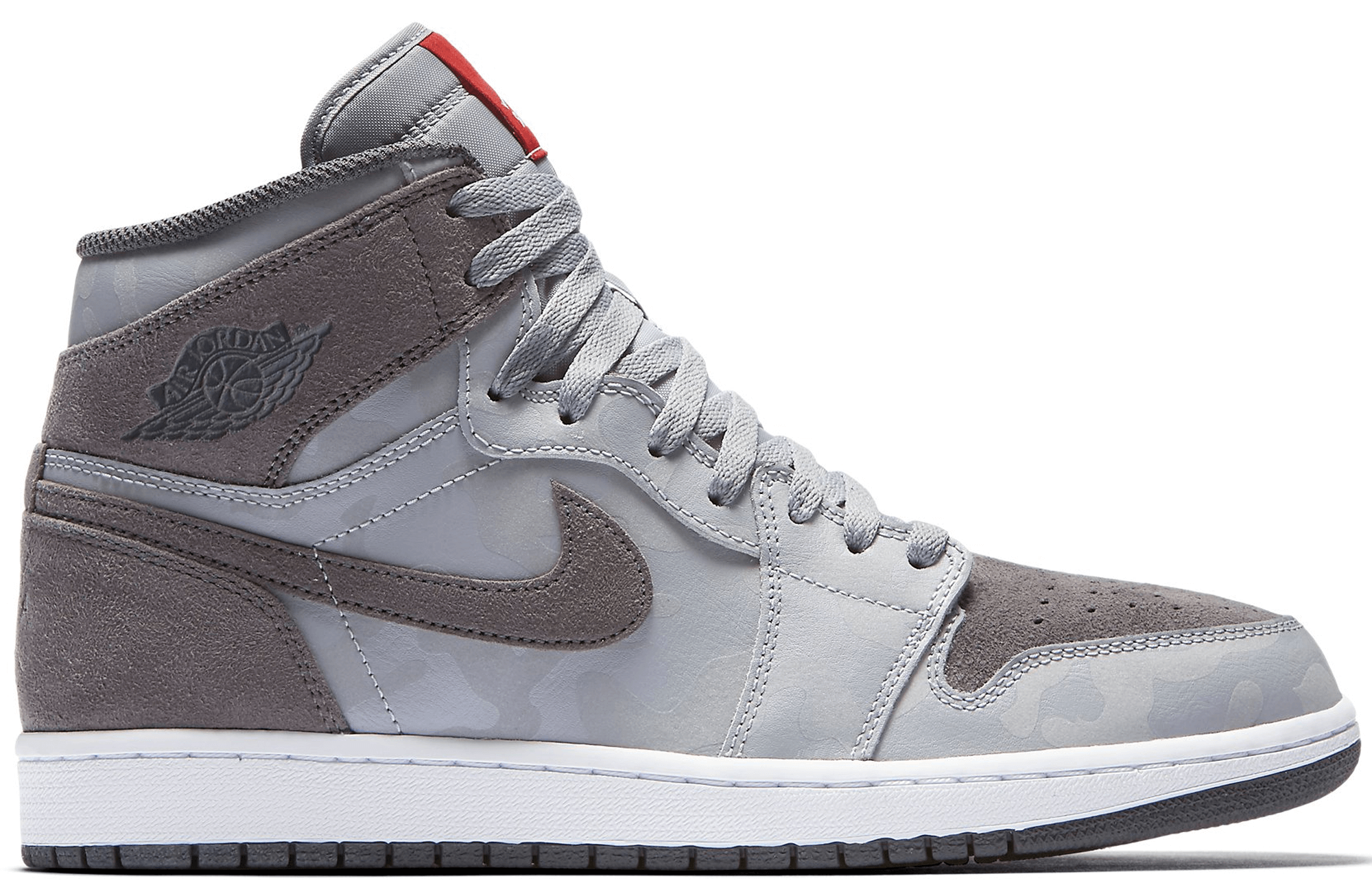 Air Jordan 1 Retro High Premium (Camo) Wolf Grey White University Red Dark  Grey 6831aefbd
