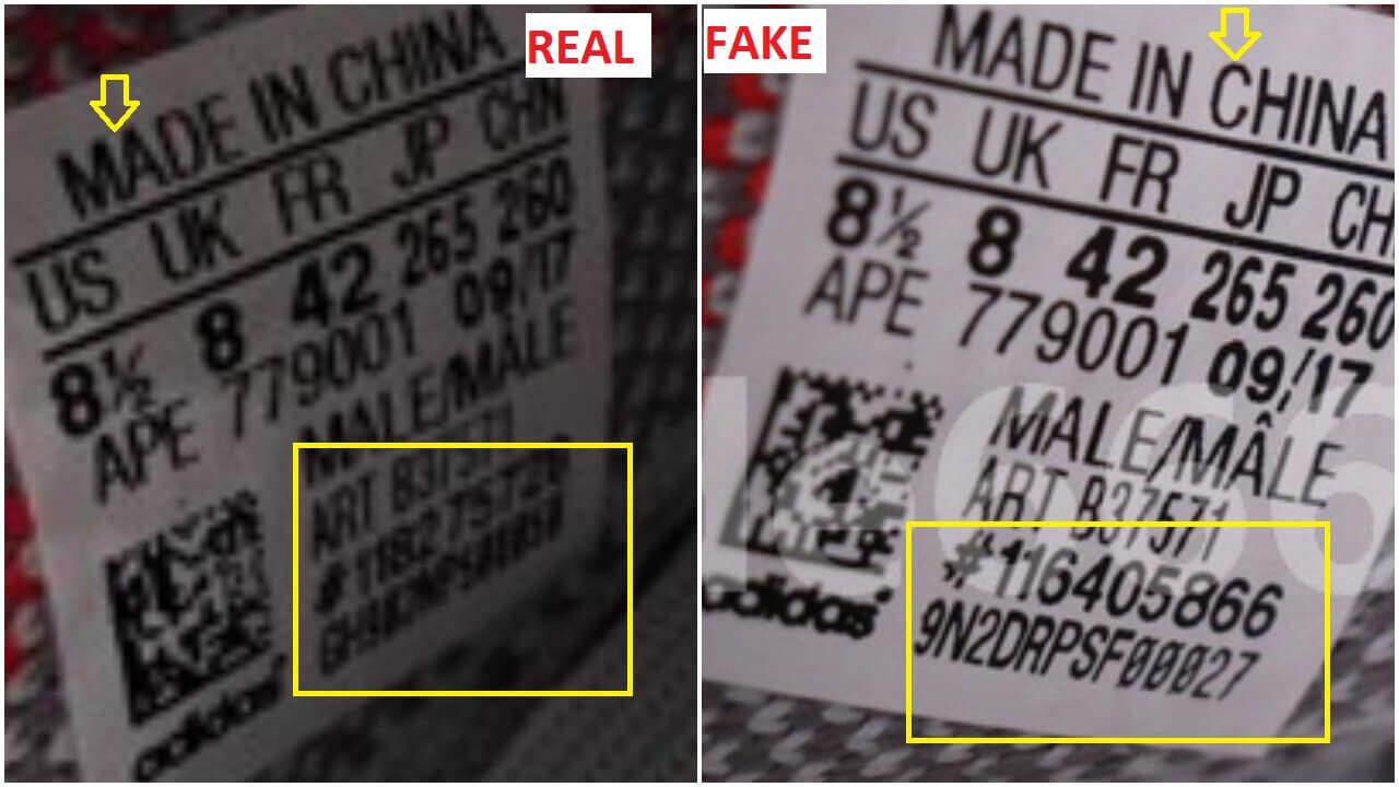 Adidas Yeezy Impulso 350 V2 Tinte Azul Real, Frente A La Falsificación