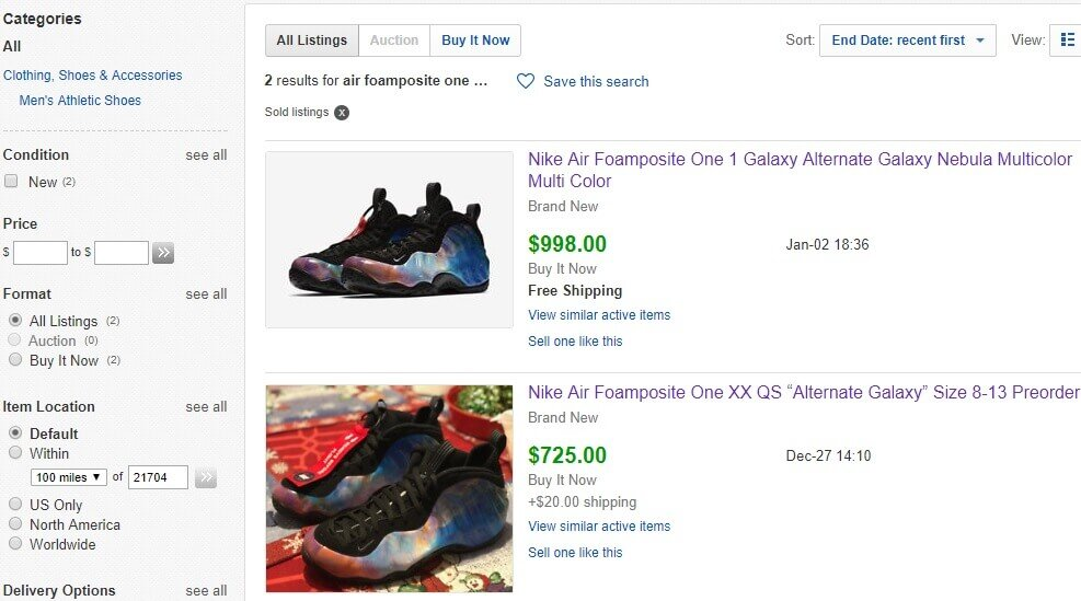 I took a screenshot of the only two pairs that sold so far on eBay. Out of  29 pairs listed only two pairs were sold. cdc889df6