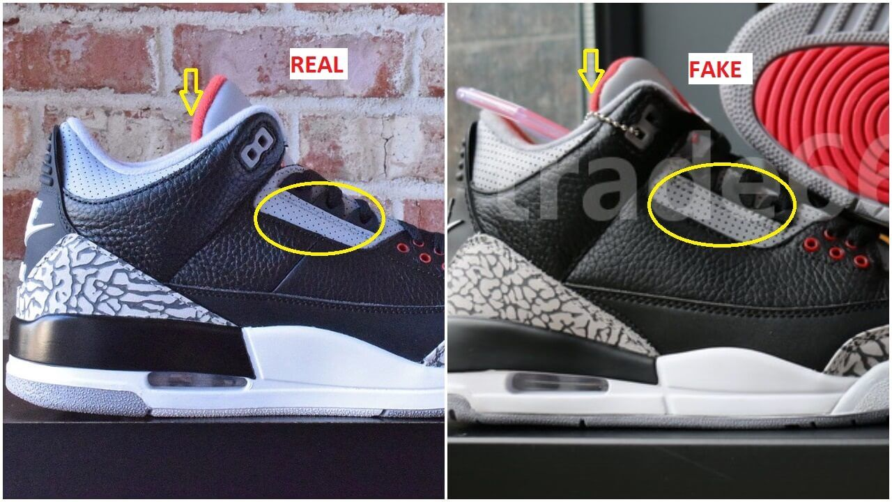 90b3d08b2267 Real VS Fake Air Jordan 3 Black Cement – ARCH-USA
