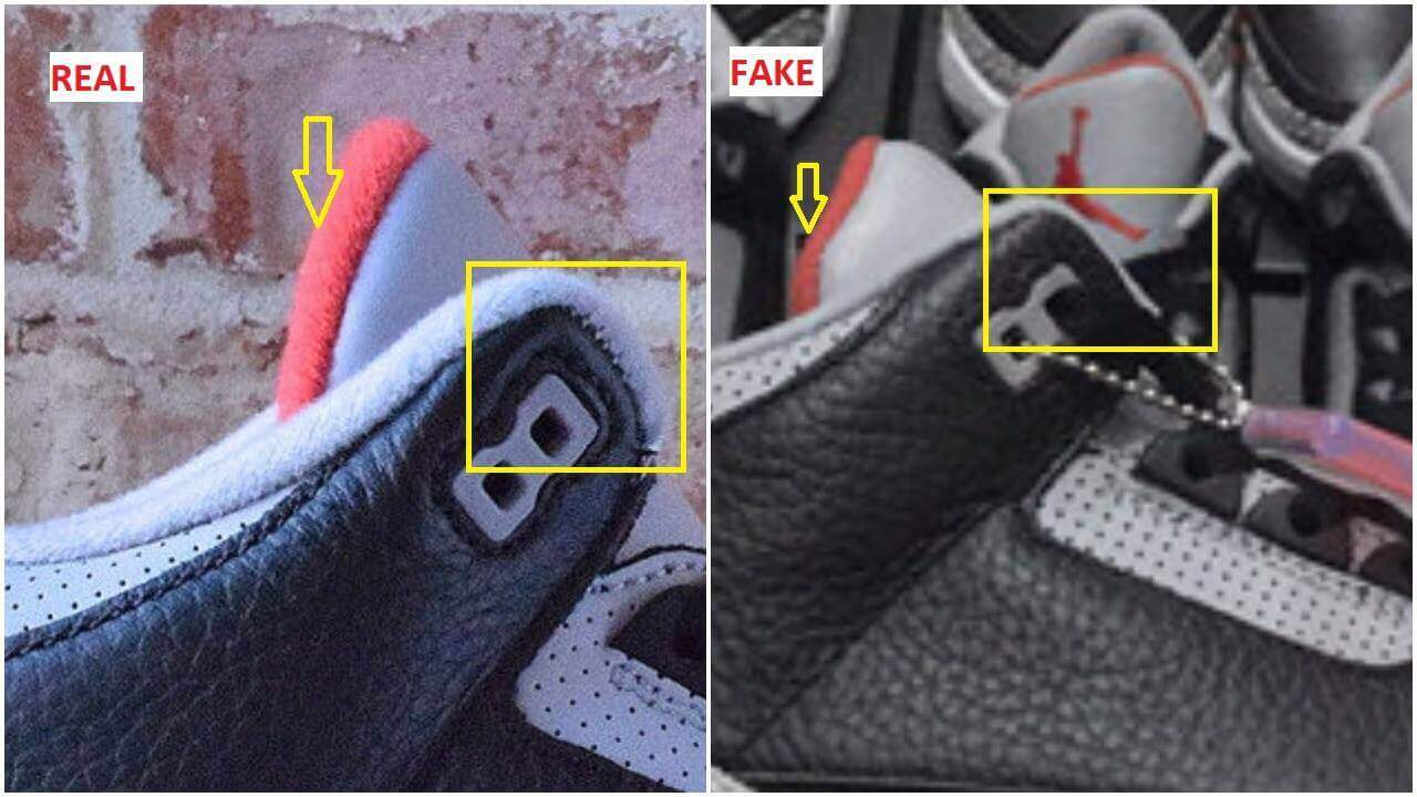 The quarter panel liner is thicker on the authentic pair than it is on the  fake ( see yellow square). The tongue of the fake pair is crooked ( see  yellow ... 8a52d4fed