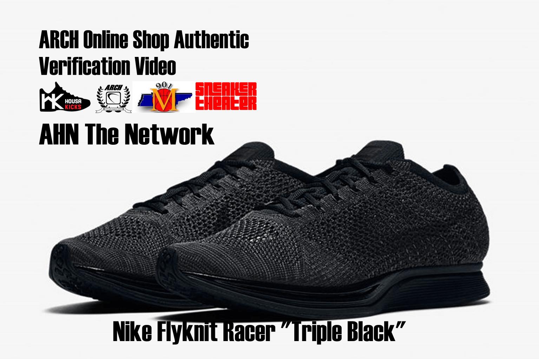"9cb759025f515 ... Nike Flyknit Racer ""Triple Black"" Authentic Verification ."