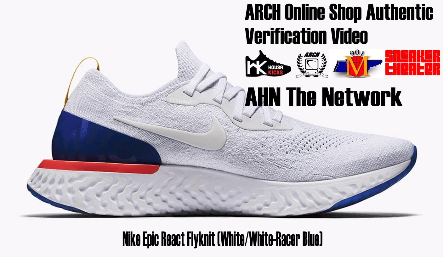 Nike Epic React Flyknit (White/White-Racer Blue) | Authentic Verification