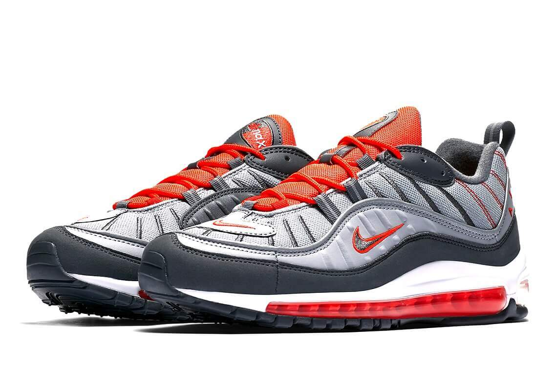 Nike Air Max 98 Total Crimson Wolf Grey Dark Grey 640744 006 Size 10
